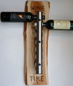 Wood Reincarnation Yew & stainless steel wine rack.